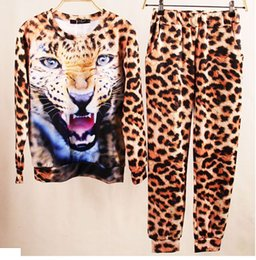 2015 Autumn And Spring Women's Casual Set Animal Leopard Tiger 3D Print Hoodies Sweatpants Sports Suits,Sweatshirt + Pant