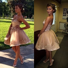 Short Prom Dresses 2017 Sweetheart Bow Beads Champagne Lace Prom Gowns Sexy Cute Cocktail Homecoming Dresses