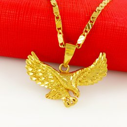 24K gold filled Jewelry Male Necklace Ambition big eagle pendant