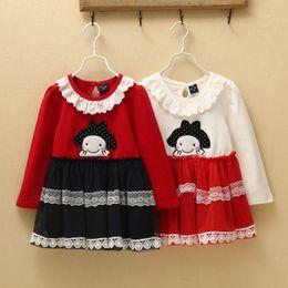 2015 Autumn Children Leisure Dress Korean Style Cartoon Pattern Girls Tutu Dress Lace Collar Kids Princess Dress Fit 2-6Age 5PCS lot SS13