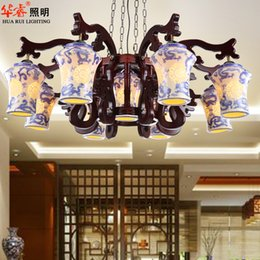 9lights red Chinese retro ceramic drawing carving hollow out blue and white porcelain wooden lamp pendant light indoor lighting solid wood
