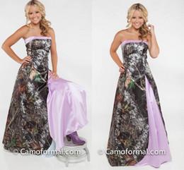 2017 Light Purple Camo Wedding Dresses Strapless Satin Floor Length Country Wedding Gowns Cheap Bridal Dresses Zipper Back