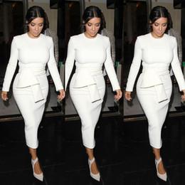 Descuento vestidos cortos kim kardashian El vendaje caliente del kim kardashian viste los vestidos formales baratos del partido del cortocircuito del vestido 2014 del baile de fin de curso del equipo de la manga de la manga del cortocircuito blanco del partido libera el envío