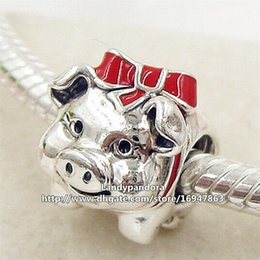 2016 New 925 Sterling Silver Piggy Bank Charm Bead with Red Enamel Fits European Pandora Jewelry Bracelets Necklaces & Pendant