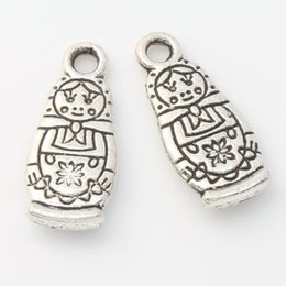 Wholesale 200pcs Antique Silver Russian Dolls Charms Pendants Jewelry DIY x7 mm L1142 Hot sell Findings Components