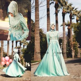 Wholesale Cheap Lace Scarves - 2015 New Muslim Evening Dresses Formal Long Sleeve Party Arabic Gowns A Line Green Scarf Appliqued Lace Satin Floor Length Cheap