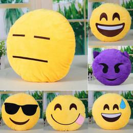 Wholesale S Emoji Back Cushion Smile Face Expression Round Pillow Stuffed Plush Soft Cute