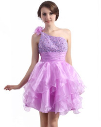 Light Purple Beaded Homecoming Dresses 2015 One Shoulder Cascading Ruffles organze A Line Sexy juniors prom dresses Short Party Gown