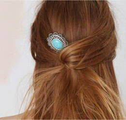 Hair Pins Fashion Women Ethnic Vintage Turquoise Antique Silver Plated Flower Hair Accessories Wholesale Drop ShippingSHR383