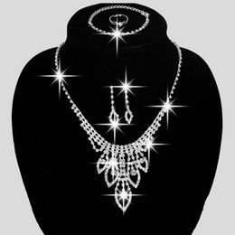 Wholesale 5PCS Luxurious Rhinestone Sliver Plated Necklace Four Pieces Wedding Jewelry Set Beauty Bridal Jewelry For Women Gift