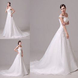 Real Picture 100% Wedding Dresses Floor Length Sexy Off Shoulder A Line In stock Ruffles Applqiue Lace Elegant Bridal Gown