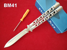 Wholesale 4 Options Bench made BM41 SS BM42 BM46 BM47 Balisong Knife C Stainless Steel HRC Butterfly Knife Plain Top quality edition