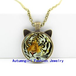 2016 New Tiger Necklace Pendant Wild Animal Jewelry Man Fashion Bronze Pendant Necklace CN-00449