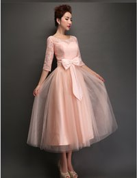 $56 ! Skin Pink Tea Length Homecoming Dresses 1 2 Sleeve Lace Tulle Bridesmaid Dresses 2015 Evening Prom Gowns with Bow Sash Real Image