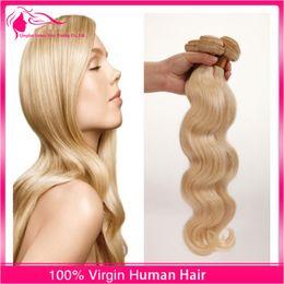 7A Russian Blonde Virgin Hair Weaves 3 Pcs Lot 100% Unprocessed Russian Virgin Hair Body Wave 613 Platinum Blonde Human Hair Extensions