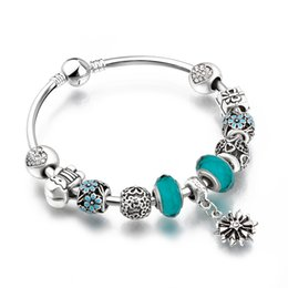 AA67 Christmas Gift Bangles With Lovely Charms 925 Crystal Beads Snow Pandent European Style Bracelets for women Jewelry