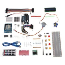 Wholesale 2015 High Standard UNO R3 AVR Starter Kit Motor x4 Keypad LCD Servo Module Relay Buzzer for Arduino High Quality