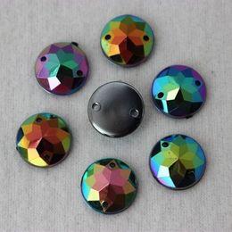 200PCS 12mm AB Round Acrylic FlatBack Rhinestones Beads Sew On 2 Hole ZZ202