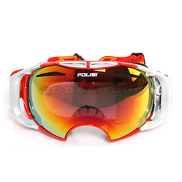 Wholesale-New POLISI Ski Snowboard Goggles Snowmobile Motorcycle Skate Anti-Fog Glasses Eyewear with Replaceable lenses Free Shipping