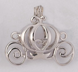 Wholesale 18kgp Carriage Locket Pumpkin Caravan Pearl Gem Beads Locket Cage Pendant Mounting for Jewelry Bracelet Necklace