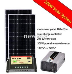 ПОЛНОЕ Solar KIT 200 Вт Вт 200W панель солнечных батарей 300W Инвертор 20А солнечного контроллера заряда 12V RV Boat Off Сетка от Поставщики р.в. комплекты солнечных панелей