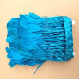 Free shipping 10 yards turquoise Stripped rooster feather trim fringe stripped coque feather trim 4-6inch in width for costume decor