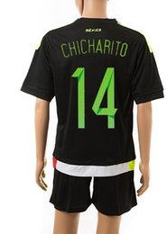 15-16 Customized Mexico Home #14 chicharito Black Jersey With Shorts, Cheap Mexico Jersey Sets Jerseys Unform,Discount Cheap Soccer Jerseys