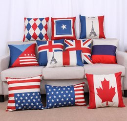 Wholesale national flags Cushions American British Canada French flags pillow case Home office decors high quality beautiful pillow covers