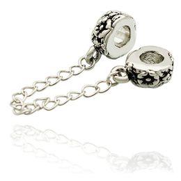 Big Hole Silver color Rhodium Plating Flower European Safety Chain link Bead Spacer Charm Fit Pandora Bracelet