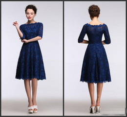 Lace Royal Blue Evening dresses Knee Length Real Model Show 1 2 Long Sleeves A Line Sleeves Evening Short Party Gowns Bridesmaid Dresses