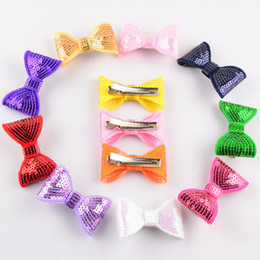 100pcs lot 27C Baby Girls Shinny Bowknot WITH Clip Korea Fashion Handmade Embroidery Sequin Bow For Kids Accessories
