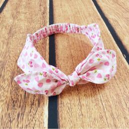 Sweet girls Headband ,Pink Heart cherry printed princess Knot baby girls hair accessory ,Turban knot baby headband for kids