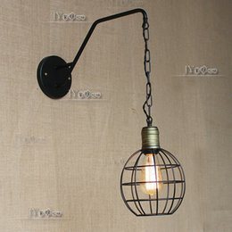 Wholesale Newest Loft Vintage creative American country style revolution aisle passage corridor lamp Iron small cages single head wall lam
