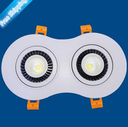 Factory direct sale Dimmable 20W Warm White   White   Cold White 2800-7000K 2X10W COB Ceiling Recessed Down Light Lamp AC85-265V 20pcs lot