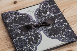Wholesale Wedding Invitations black Hollow Laser Cut Greeting Cards Free Design and printing Via DHL Shipping Free Cw5297