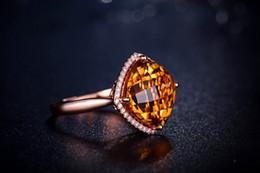 Wholesale Solid K Rose Gold Natural Diamond Ravishing Cushion Citrine Ring R0119