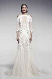 Wholesale Unique Pallas Couture Long Sleeves Wedding Dresses Mermaid Straps Off The Shoulder Appliqued Lace Wedding Dress Sheer Backless Bridal Gowns