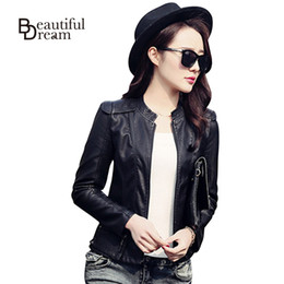 Wholesale-Korean Black Wine Red Autumn Leather Jacket Women Brand Faux Soft Leather Jackets PU Zippers Coats Long Sleeve Motorcycle Coat