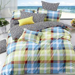 Wholesale Twill Lattice Printed Duvet Covers Set Cotton Pillowcases Sheet Quilt Cover LCCMD14