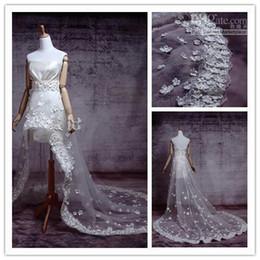 Wholesale - Real Sample Hi lo Hi Low High Low Long Train Sexy Handmade Flower Wedding Dress Bridal Gown