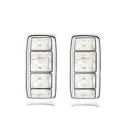 Hot Selling Square Stud Earrings For Women Austrian Crystal crystal hoop earrings Silver White swarovski crystal earrings 8193