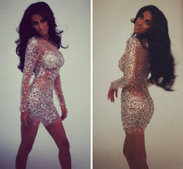 Sexy Pageant Dresses Prom Dresses Full with Crystals Rhinestones Sheath Mini Short Cocktail Dresses with Long Sleeves
