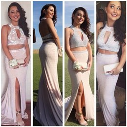 Bling Bling Two-Pieces Prom Dress With Slit Sexy Sparking Crystal Beads Luxury Evening Dresses Backless Prom Gowns 2019