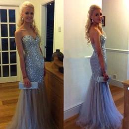 Blinking Mermaid Evening Dresses 2015 Sequined Beaded Sweetheart Backless Floor Length High Quality Tulle Formal Party Dress