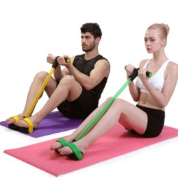 Wholesale 5 Colors Foot Hand Portable Pedal Exerciser Body Building Resistance Bnad Tube Pull Exerciser with Pedal