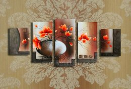 Pictures decor wall art modern art home decoration abstract canvas red flower oil painting 5 panel wall decor paintings F 874