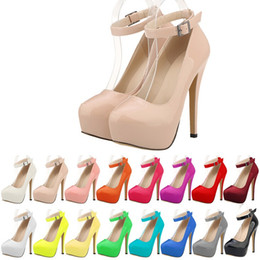 2019 New Arrival Women Pumps Platform Thin Heels 14cm Ankle Strap Women Shoes Fashion High Quality Sexy High Heels Size 35-42