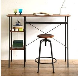 Wholesale American country wrought iron wood desk computer tables rotating lift barstool Kits desk desk