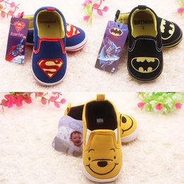 Wholesale Baby Girls First Walker Shoes Kids Boys Spider Man And Smiley Shoes Children Soft Bottom Anti Slip Superman Shoes Toddler Spring Footwear