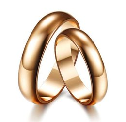 Wholesale-2015Newest!!! fashion Gloss Couple Bands Rings For Weddings For Men And For Women Rose Gold Plated Rings